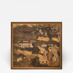 Japanese Two Panel Screen Court Figures in a Garden with Flowering Cherry - 1269356
