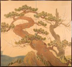 Japanese Two Panel Screen Embroidered Pine at Water s Edge - 1905748