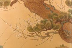 Japanese Two Panel Screen Embroidered Pine at Water s Edge - 1905753