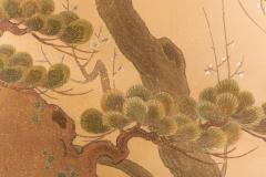 Japanese Two Panel Screen Embroidered Pine at Water s Edge - 1905754