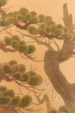 Japanese Two Panel Screen Embroidered Pine at Water s Edge - 1905756