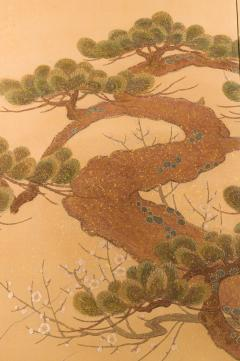 Japanese Two Panel Screen Embroidered Pine at Water s Edge - 1905757