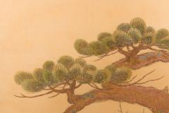 Japanese Two Panel Screen Embroidered Pine at Water s Edge - 1905783