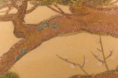 Japanese Two Panel Screen Embroidered Pine at Water s Edge - 1905788