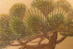 Japanese Two Panel Screen Embroidered Pine at Water s Edge - 1905789