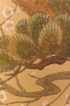 Japanese Two Panel Screen Embroidered Pine at Water s Edge - 1905801