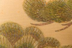 Japanese Two Panel Screen Embroidered Pine at Water s Edge - 1905804
