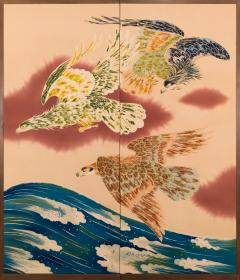 Japanese Two Panel Screen Falcons in Flight - 1950260