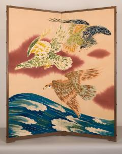 Japanese Two Panel Screen Falcons in Flight - 1950315