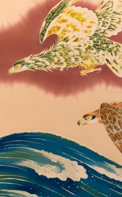 Japanese Two Panel Screen Falcons in Flight - 1950345