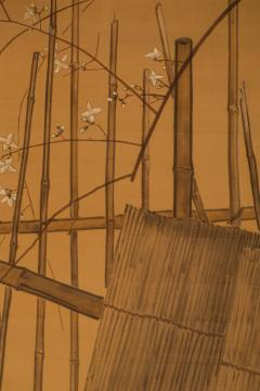 Japanese Two Panel Screen Farm Geese and Bamboo Fence - 392479