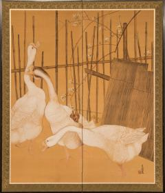 Japanese Two Panel Screen Farm Geese and Bamboo Fence - 392481