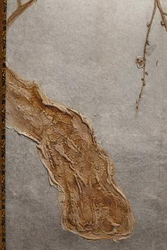 Japanese Two Panel Screen Flowering Tree by Edge of a Stream - 735249