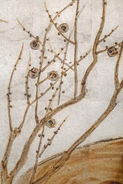 Japanese Two Panel Screen Flowering Tree by Edge of a Stream - 735252