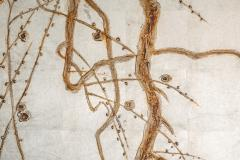 Japanese Two Panel Screen Flowering Tree by Edge of a Stream - 735257