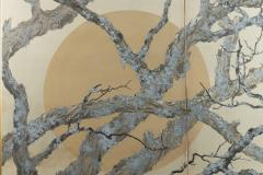 Japanese Two Panel Screen Full Moon Through Plum Orchard - 1824990