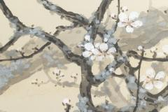Japanese Two Panel Screen Full Moon Through Plum Orchard - 1825026