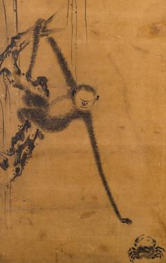 Japanese Two Panel Screen Gibbons of Folklore - 1631413