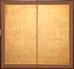 Japanese Two Panel Screen Gold Leaf on Paper - 1571830