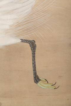Japanese Two Panel Screen Heron In Water Lily Pond Under Willow - 1368605