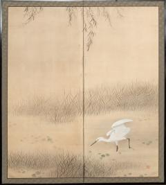 Japanese Two Panel Screen Heron In Water Lily Pond Under Willow - 1368606