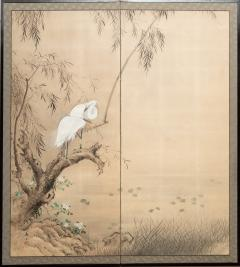 Japanese Two Panel Screen Herons in Willow by Water Lily Pond - 1368626
