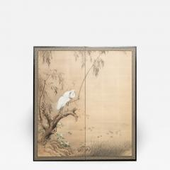 Japanese Two Panel Screen Herons in Willow by Water Lily Pond - 1368770