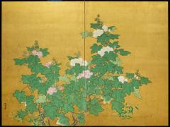 Japanese Two Panel Screen Hollyhocks - 1353896
