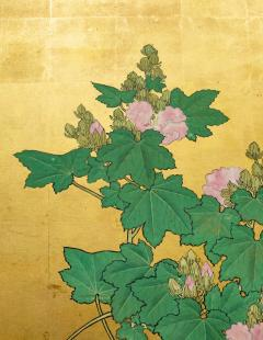 Japanese Two Panel Screen Hollyhocks - 1353919