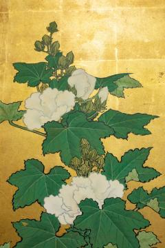 Japanese Two Panel Screen Hollyhocks - 1353921
