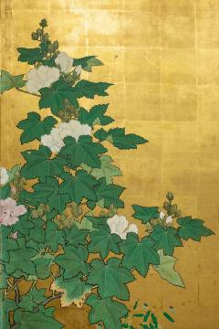 Japanese Two Panel Screen Hollyhocks - 1353922