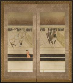 Japanese Two Panel Screen Horses in Stable with Attendant - 351424