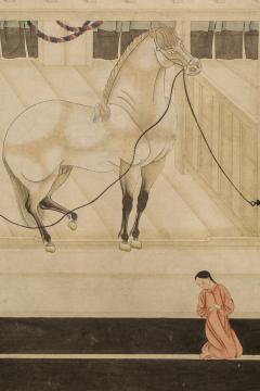 Japanese Two Panel Screen Horses in Stable with Attendant - 351425