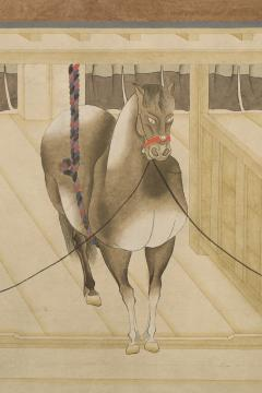 Japanese Two Panel Screen Horses in Stable with Attendant - 351426