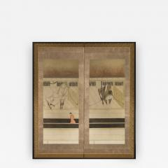 Japanese Two Panel Screen Horses in Stable with Attendant - 351544