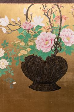 Japanese Two Panel Screen Ikebana on Gold - 1824988