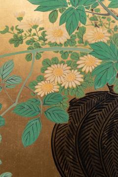 Japanese Two Panel Screen Ikebana on Gold - 1824991