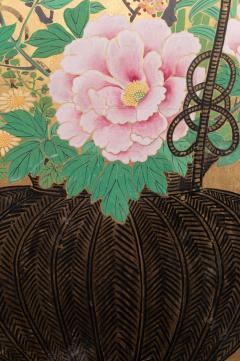Japanese Two Panel Screen Ikebana on Gold - 1824997