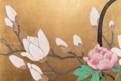 Japanese Two Panel Screen Ikebana on Gold - 1825021