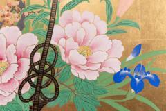 Japanese Two Panel Screen Ikebana on Gold - 1825027