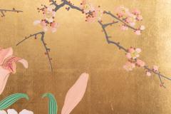 Japanese Two Panel Screen Ikebana on Gold - 1825031