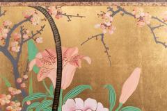 Japanese Two Panel Screen Ikebana on Gold - 1825033