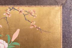 Japanese Two Panel Screen Ikebana on Gold - 1825039