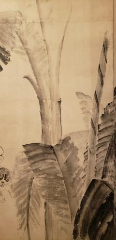 Japanese Two Panel Screen Ink Painting of Banana Leaves on Mulberry Paper - 1950271