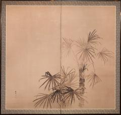 Japanese Two Panel Screen Ink Painting of Palms On Mulberry Paper - 1592311