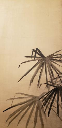 Japanese Two Panel Screen Ink Painting of Palms On Mulberry Paper - 1592318