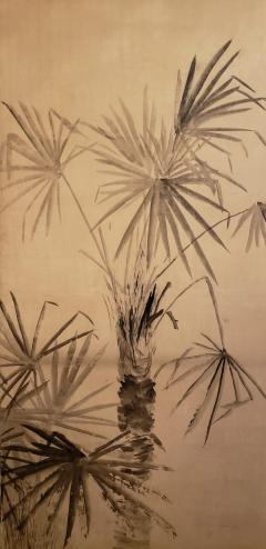 Japanese Two Panel Screen Ink Painting of Palms On Mulberry Paper - 1592319