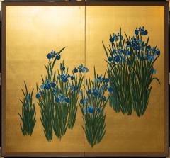 Japanese Two Panel Screen Irises on Gold - 1421276