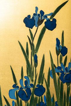 Japanese Two Panel Screen Irises on Gold - 1421277