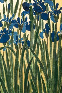 Japanese Two Panel Screen Irises on Gold - 1421278